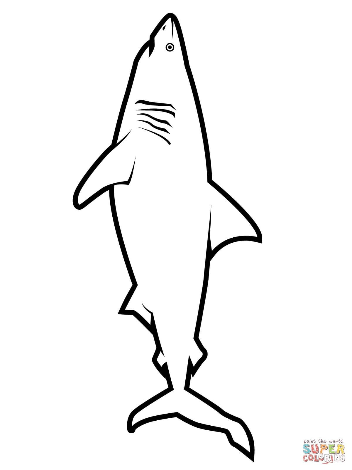 Realistic Great White Shark Coloring Page | Free Printable Coloring - Free Printable Great White Shark Coloring Pages