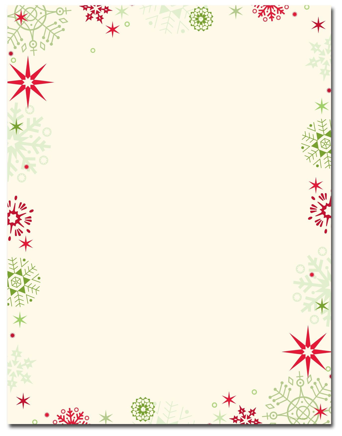 Red & Green Flakes Letterhead | Holiday Papers | Christmas - Free Printable Letterhead Borders