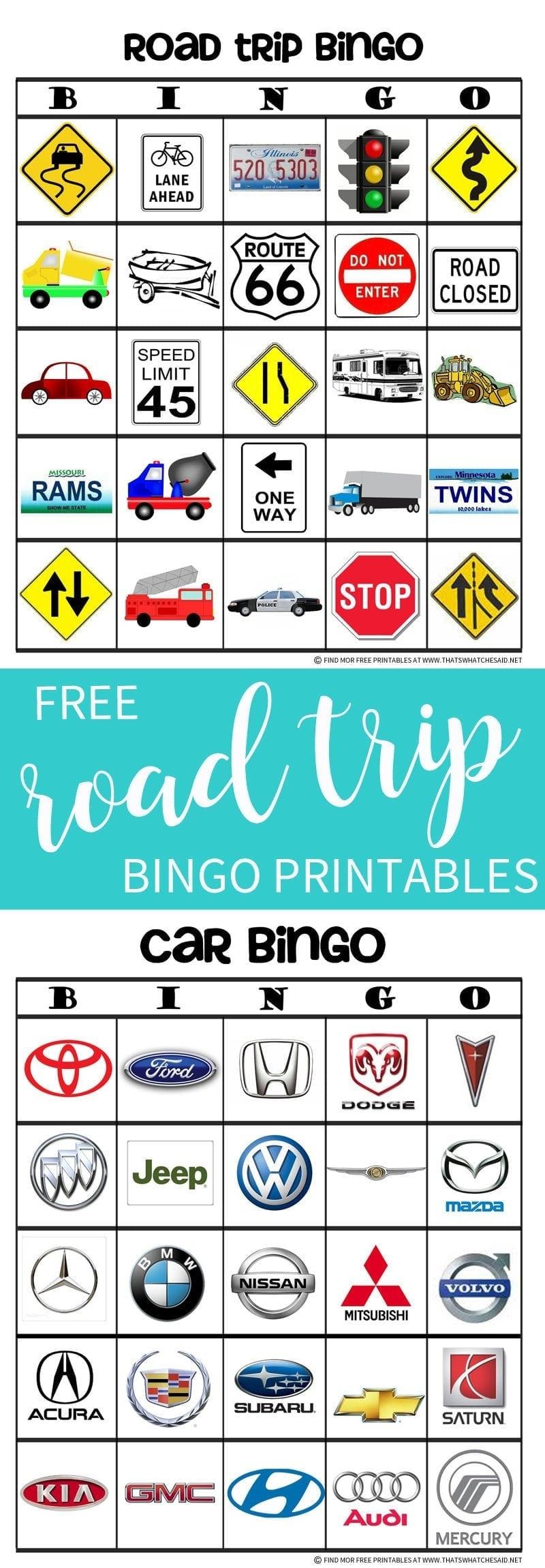 Road Trip Bingo Game Free Printable - That's What Che Said - Free Printable Car Bingo