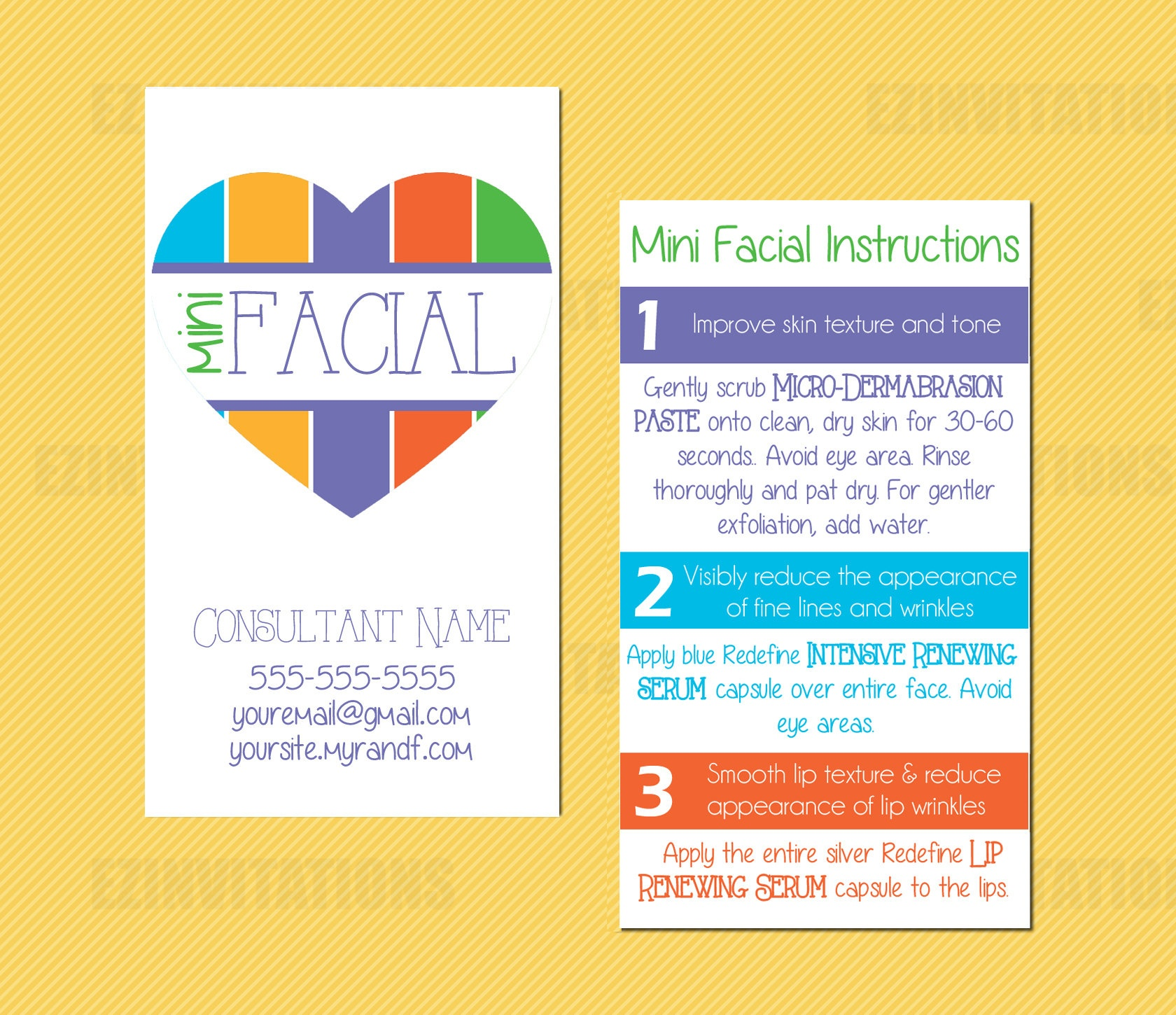 Rodan And Fields Mini Facial Card Rf Mini Facial Heart | Etsy - Rodan And Fields Mini Facial Instructions Printable Free