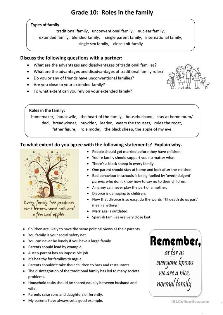 Roles In The Family: Idioms And Conversation Worksheet - Free Esl - Free Printable English Conversation Worksheets