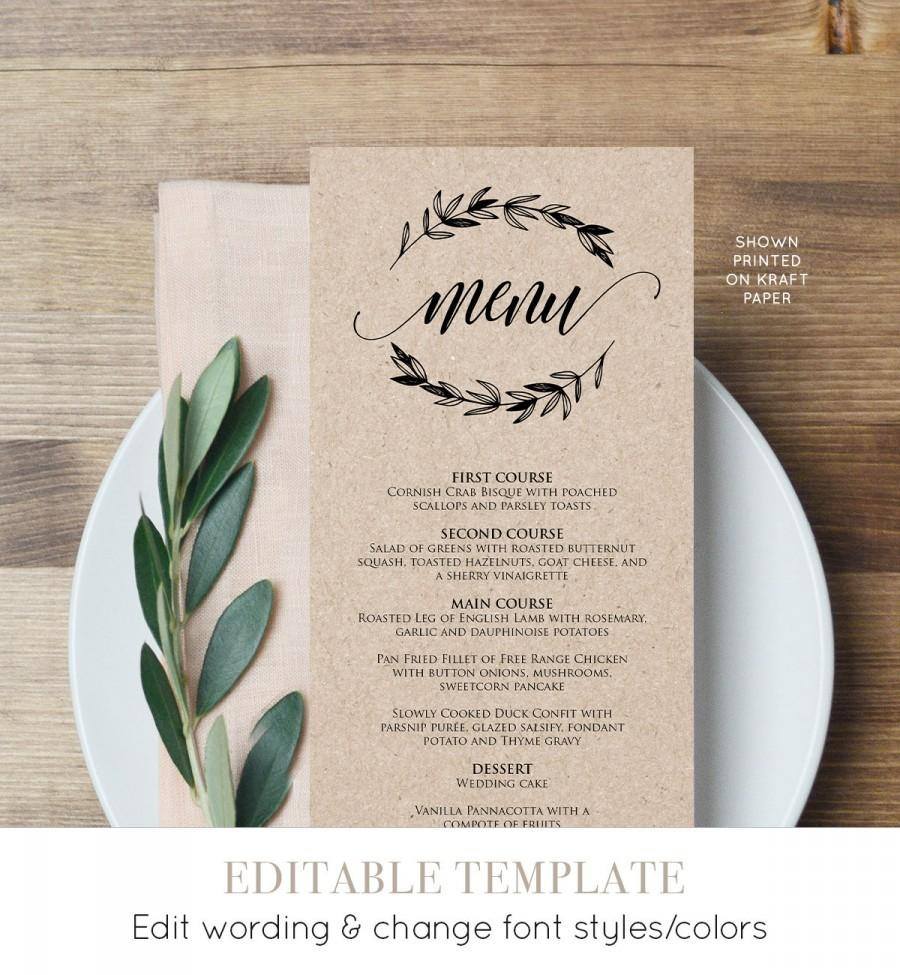 Rustic Wedding Menu Template, Printable Menu Card, Editable Text - Free Printable Wedding Menu Card Templates