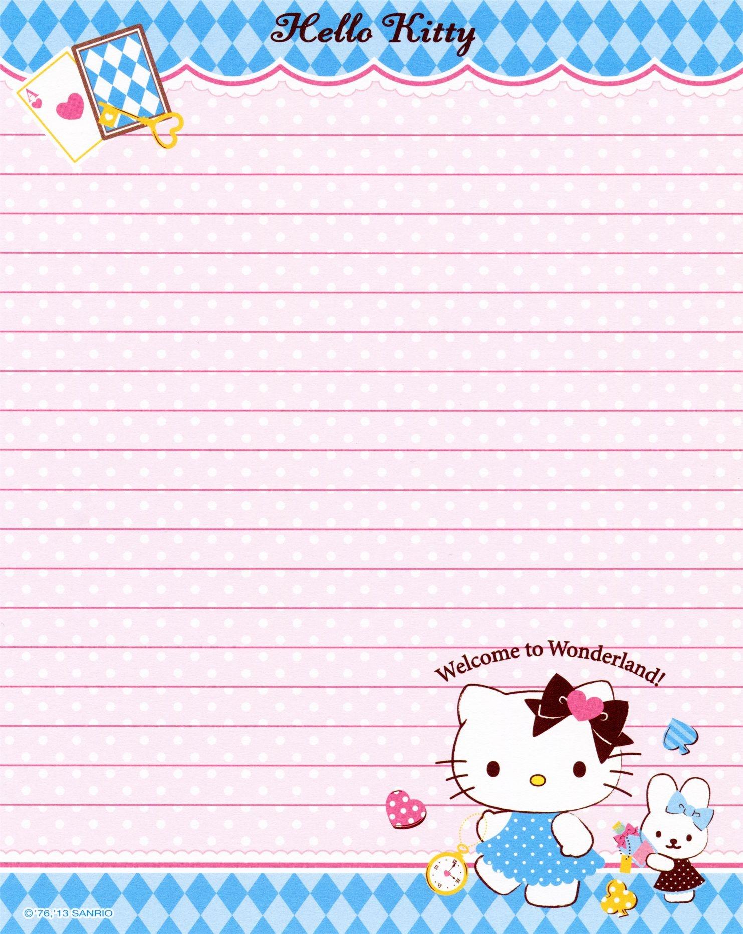 Sanrio - Hello Kitty - Memo Paper | Tags | Hello Kitty, Sanrio Hello - Free Printable Hello Kitty Stationery