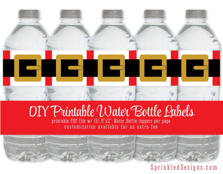 Santa Printable Water Bottle Labels - Funny Drink Wrap Wrapper - Christmas Water Bottle Labels Free Printable
