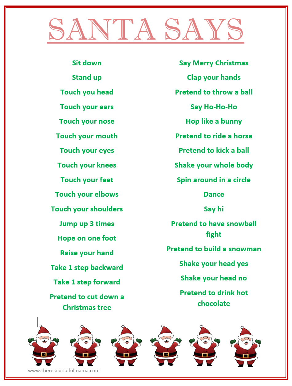 Santa Says Game For Christmas Parties {Free Printable} | Kid Blogger - Holiday Office Party Games Free Printable