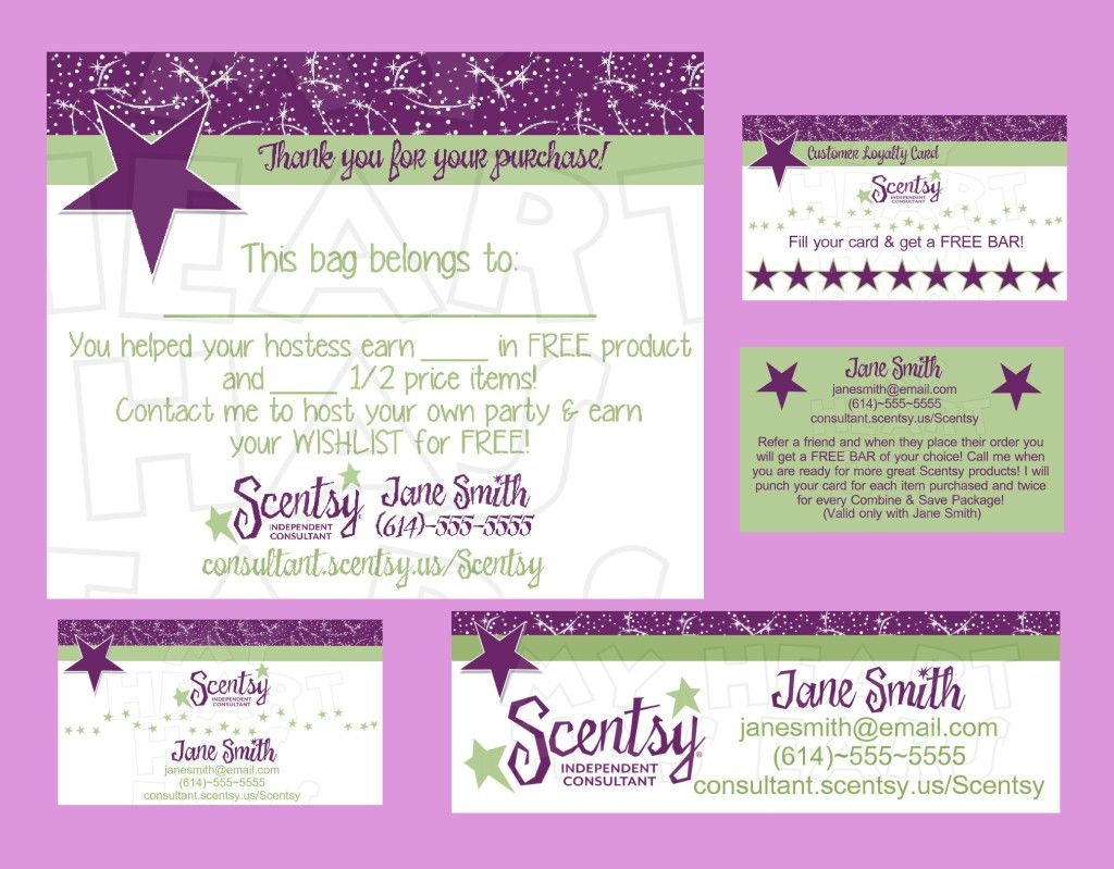 Scentsy Business Bundle Custom Printable Digital Business Cards, Bag - Free Printable Scentsy Business Cards