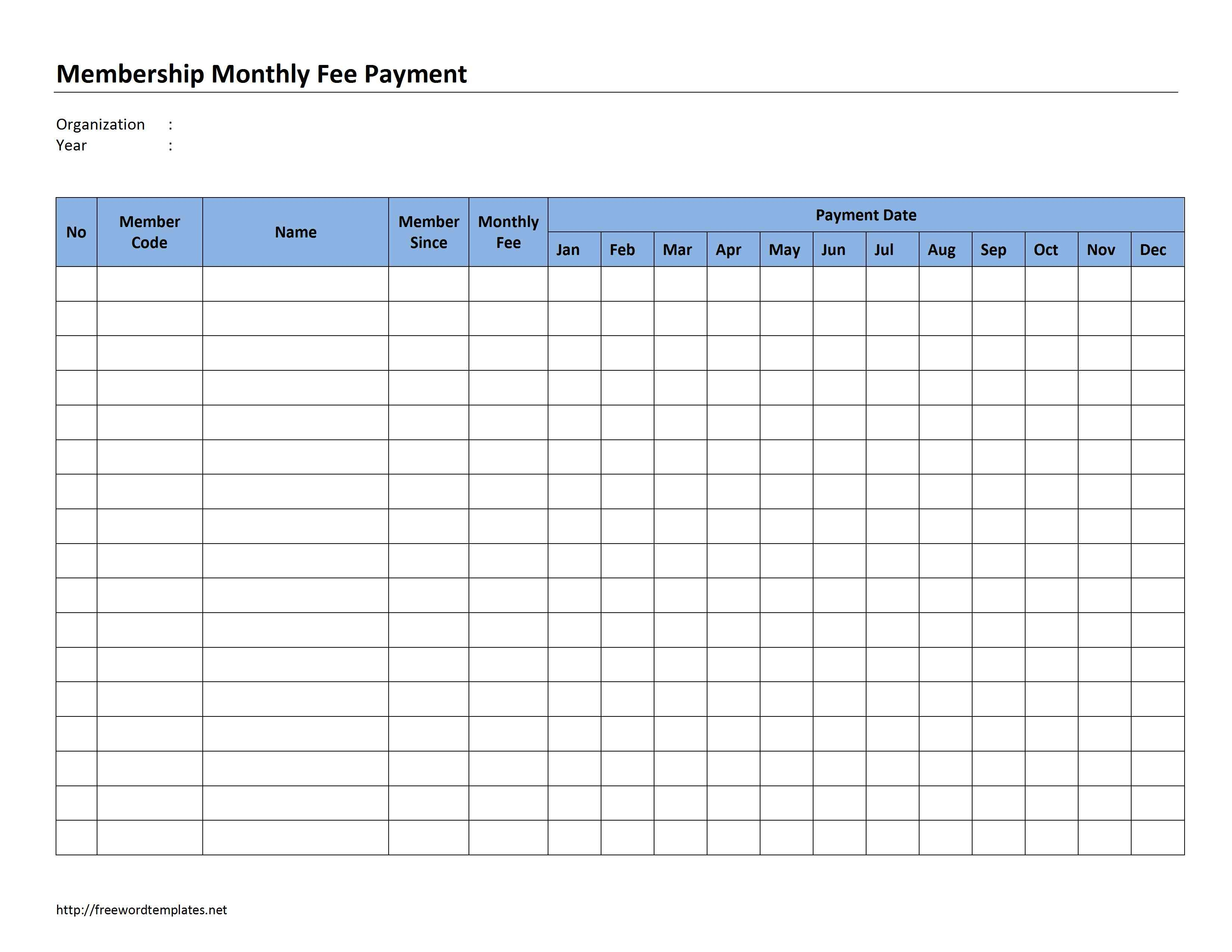 Schedule Template Payment Format Excel Sheet Sample Membership - Free Printable Bill Payment Schedule