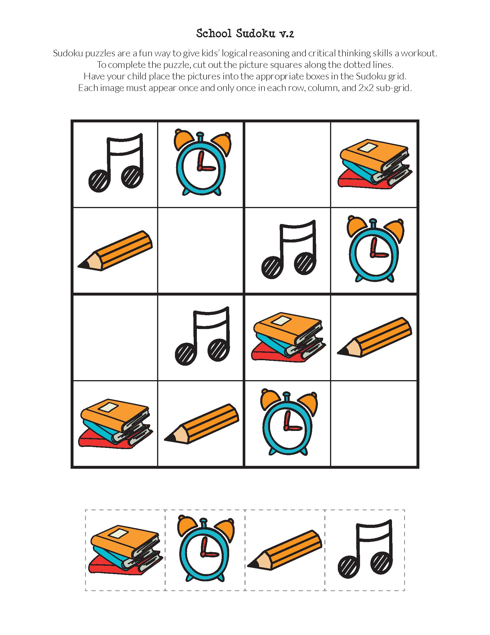 School Sudoku Puzzles {Free Printables} | Skool | Sudoku Puzzles - Free Printable Critical Thinking Puzzles