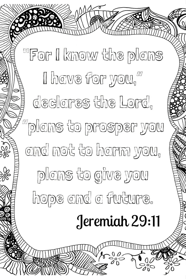 Scripture Meditation: Free Adult Coloring Printable - Family Style - Jeremiah 29 11 Free Printable