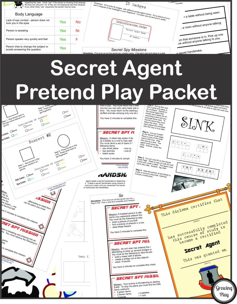 Secret Agent Pretend Play - Growing Play - Free Printable Detective Games