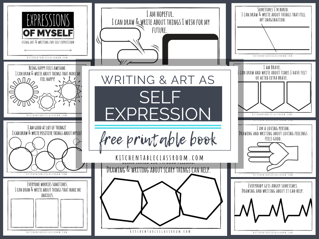Self Expression Through Writing & Art- Free Self Esteem Worksheets - Free Printable Classroom Worksheets