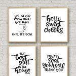 Set Of 4 Printable Bathroom Signs   Happy Go Lucky   Free Printable Bathroom Pictures