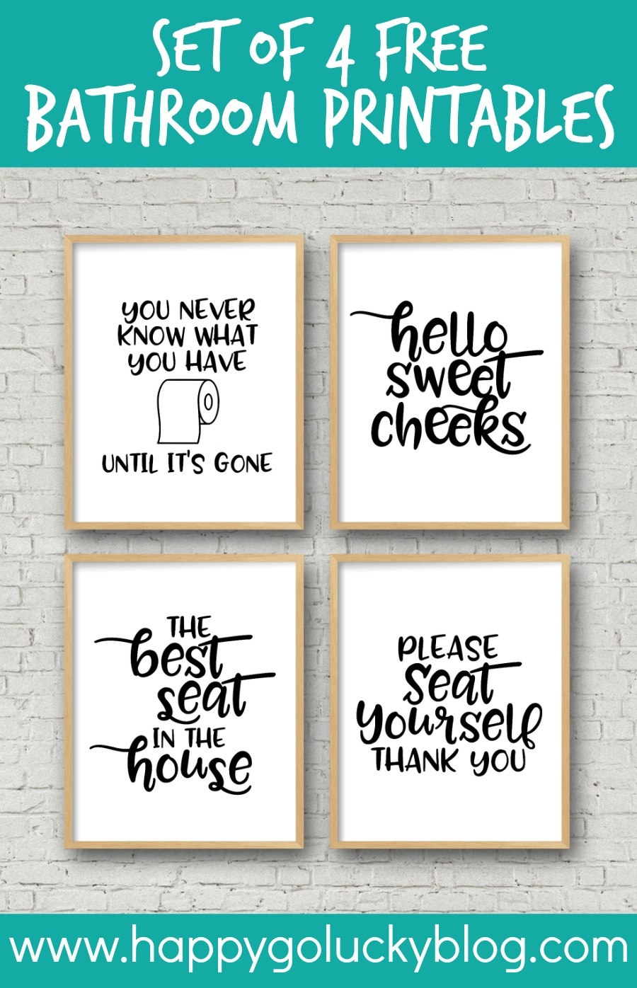 Set Of 4 Printable Bathroom Signs - Happy-Go-Lucky - Free Printable Bathroom Signs