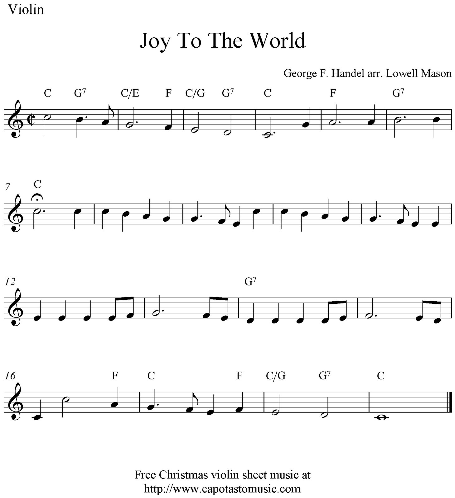 Sheet Music Violin | Joy To The World, Free Christmas Violin Sheet - Free Printable Christmas Sheet Music For Alto Saxophone