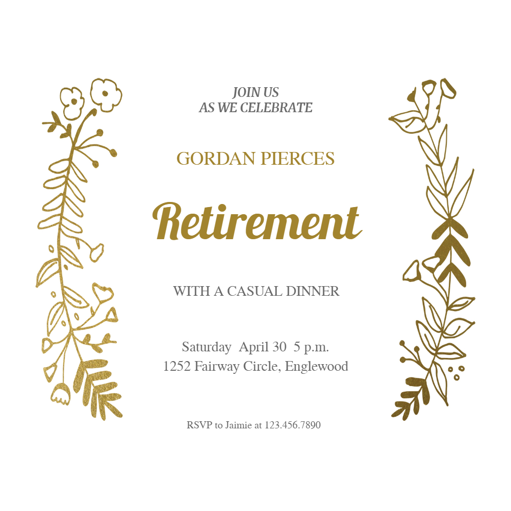 Sideside Gold - Free Retirement & Farewell Party Invitation - Free Printable Retirement Party Flyers
