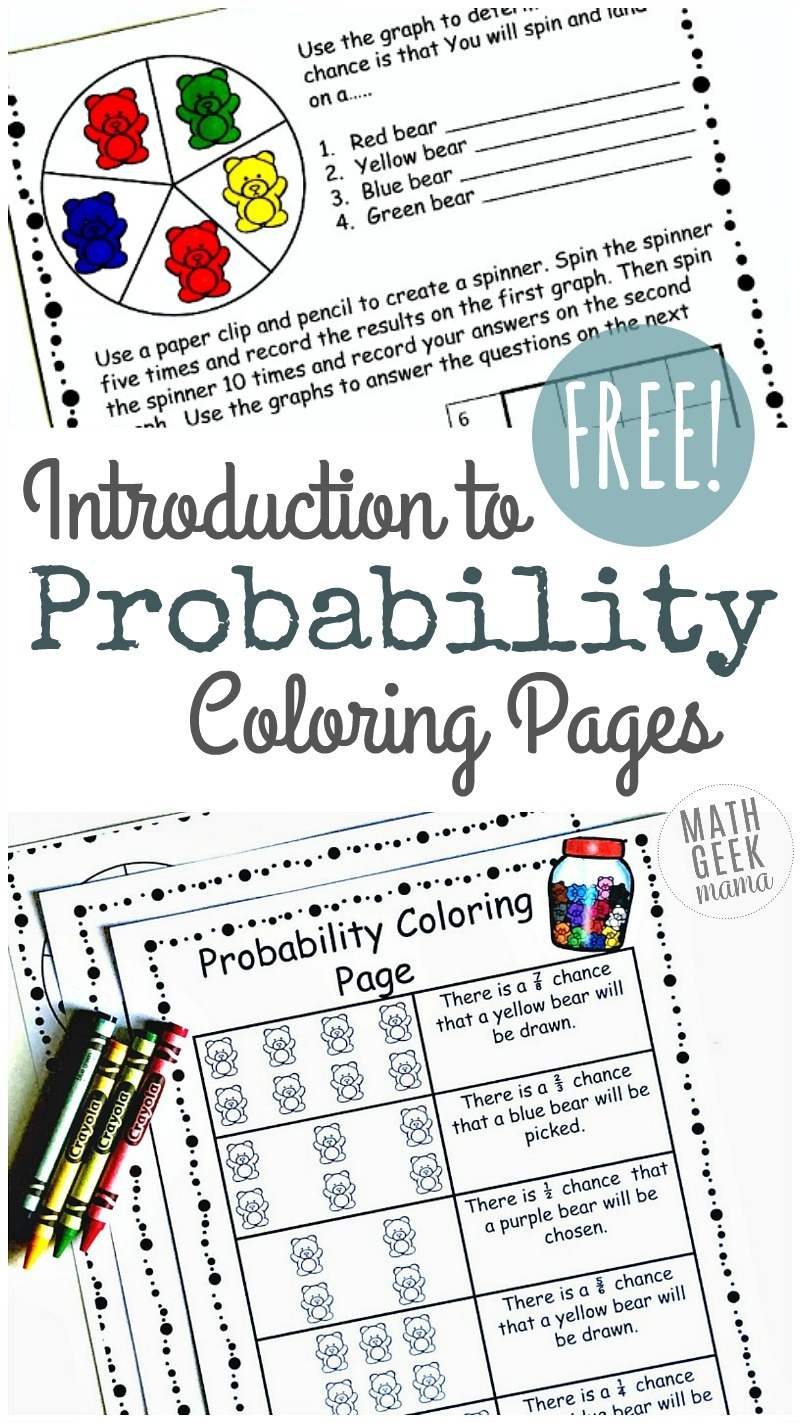 Simple Coloring Probability Worksheets For Grades 4-6 {Free} - Free Printable Probability Worksheets 4Th Grade
