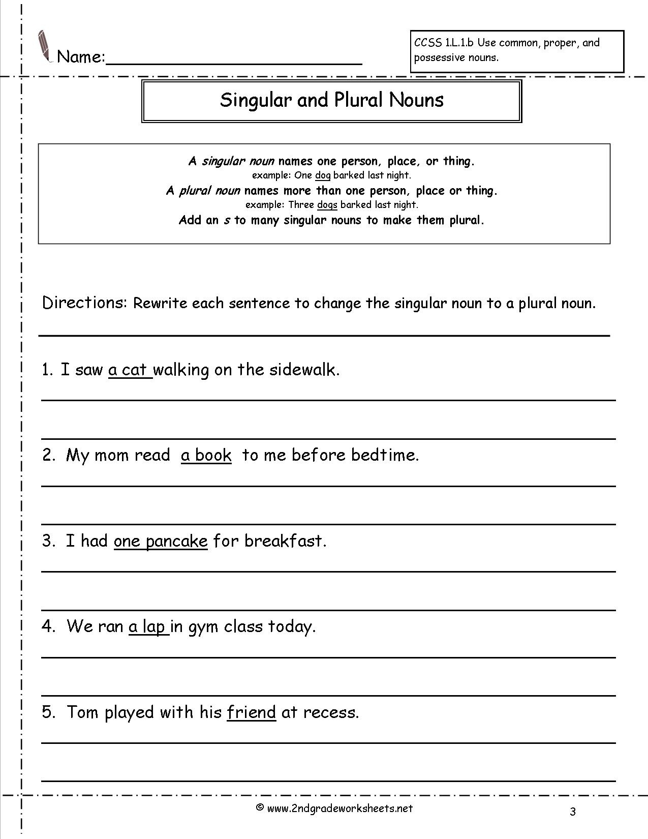 Singular And Plural Nouns Worksheets - Free Printable Making Change Worksheets