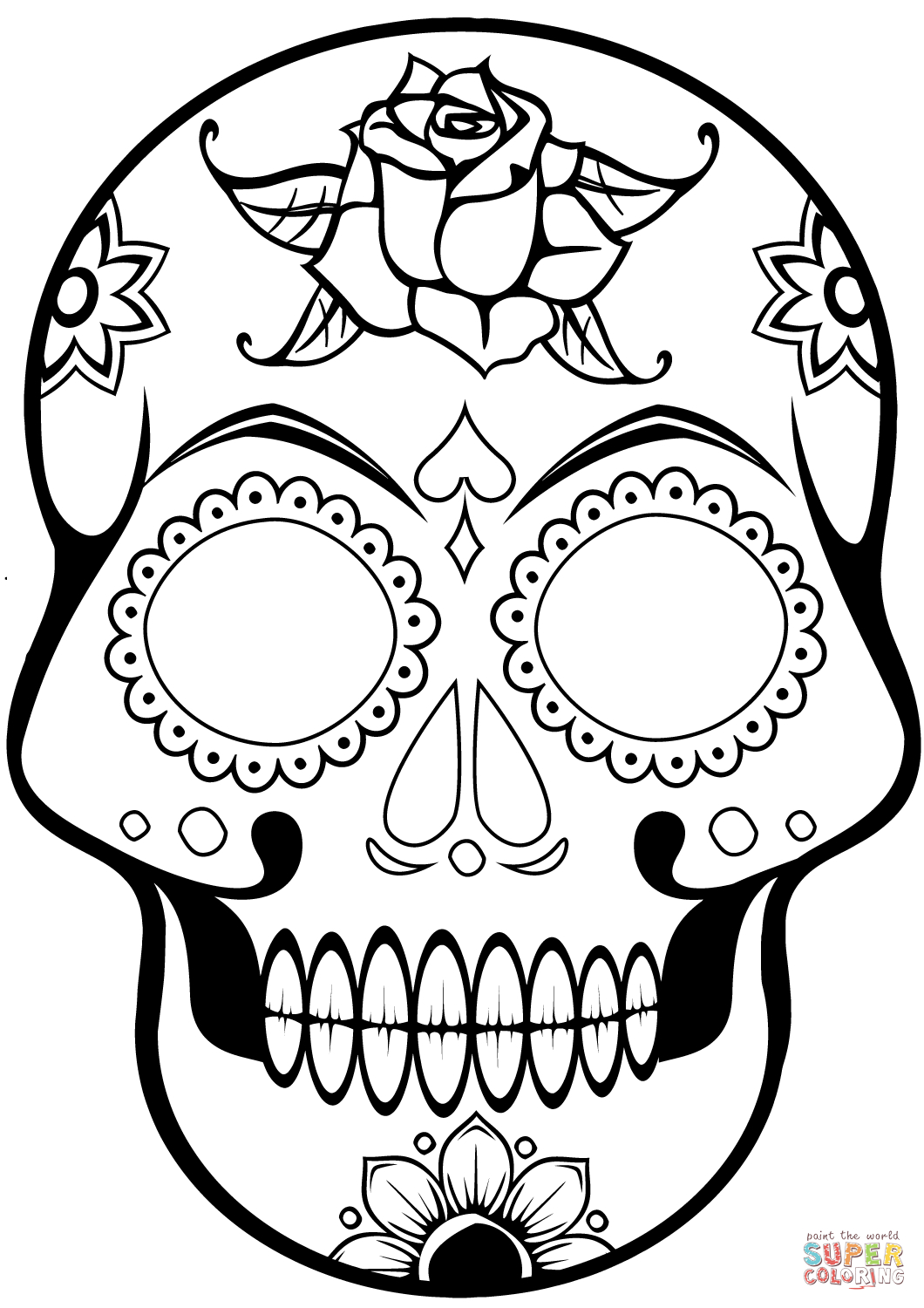 Skull Coloring Pages | Free Download Best Skull Coloring Pages On - Free Printable Sugar Skull Coloring Pages