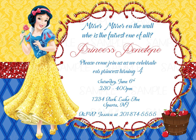 Snow White Printable Birthday Party Invitation | Etsy - Snow White Invitations Free Printable