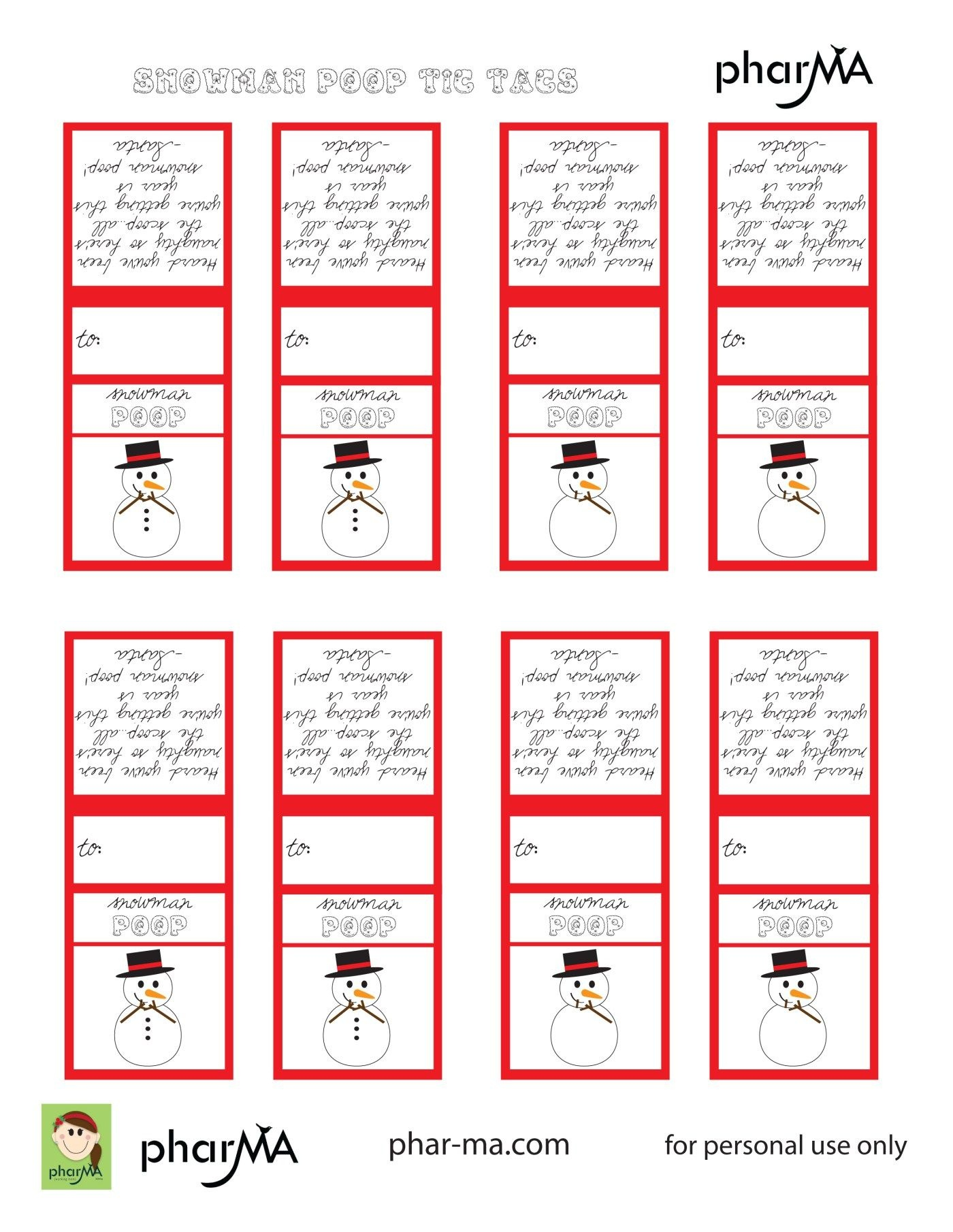 Snowman Poop Tic Tac Labels | Let's Make Christmas Things! | Snowman - Free Printable Tic Tac Labels