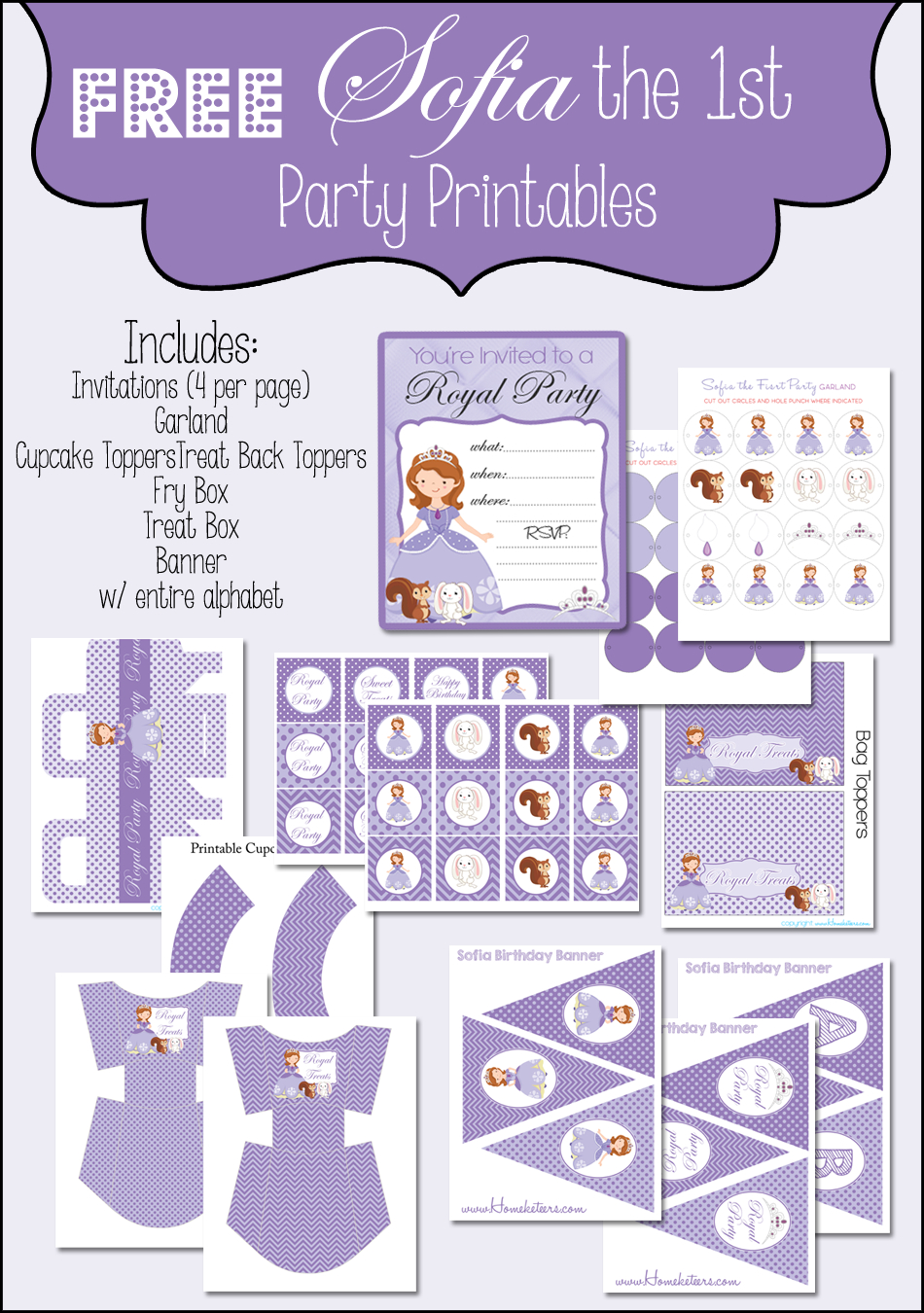 Sofia The First Printable Party Set ~ Free - Free Printable Sofia Cupcake Toppers
