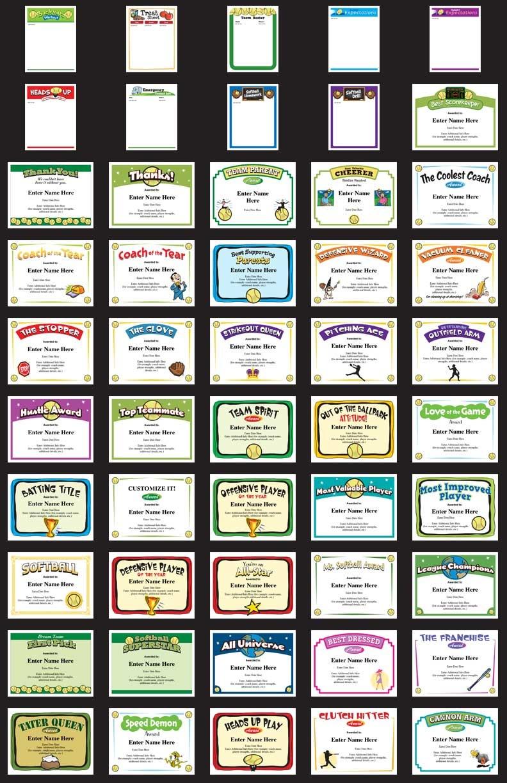 Softball Certificates - Free Award Certificates - Free Printable Softball Award Certificates