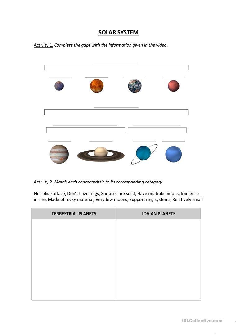 Solar System Worksheet (Video Lesson) Worksheet - Free Esl Printable - Free Printable Solar System Worksheets