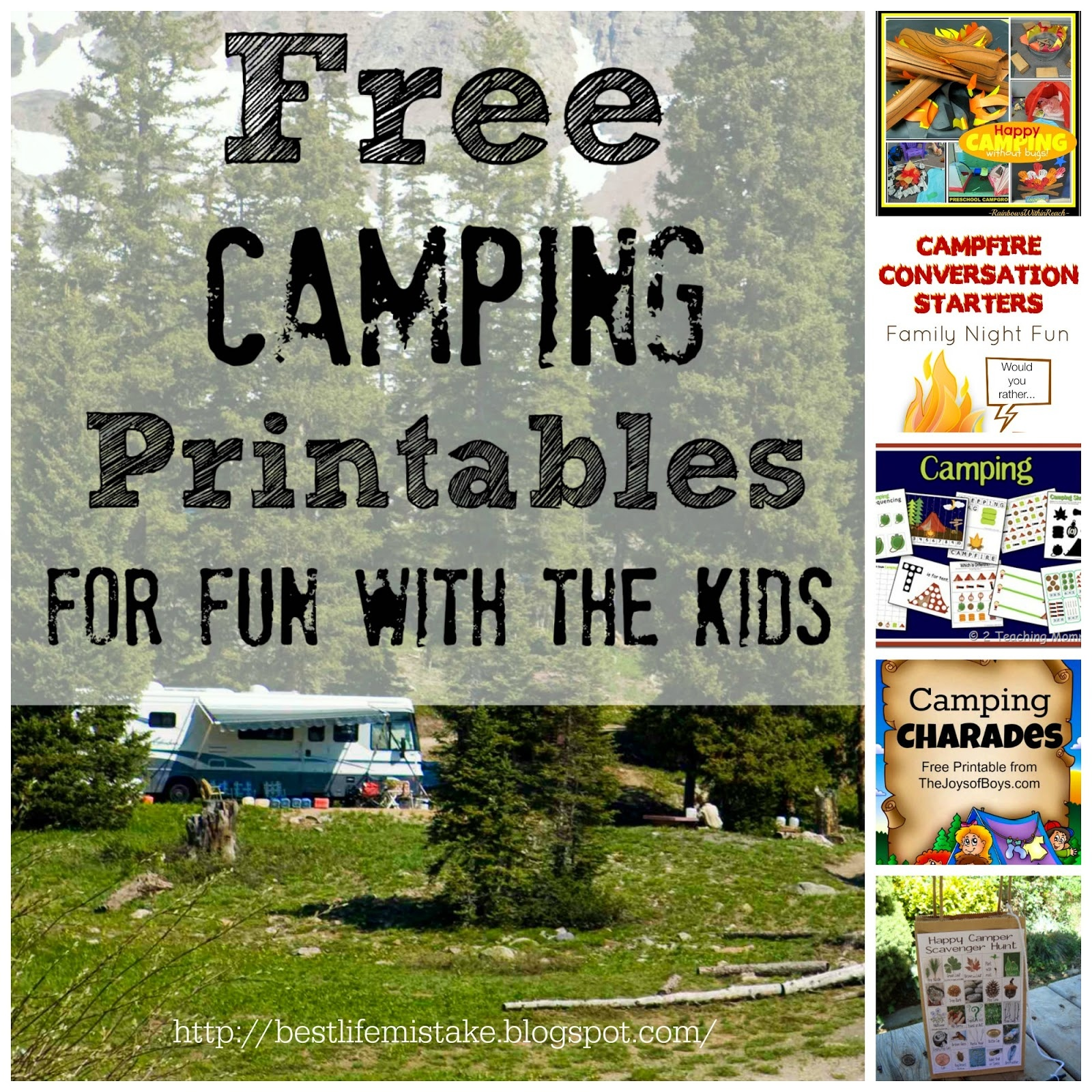 Some Of The Best Things In Life Are Mistakes: Free Camping - Free Printable Camping Games