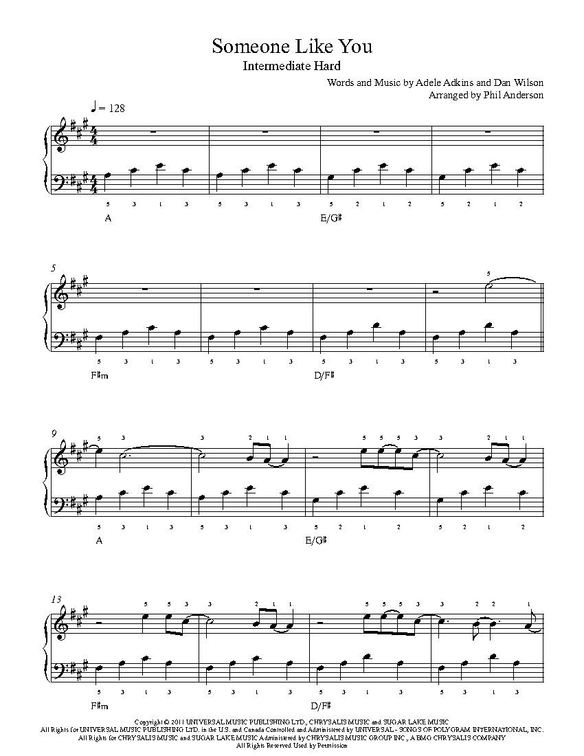 Someone Like Youadele Piano Sheet Music   Intermediate Level - Free Printable Sheet Music Adele Someone Like You