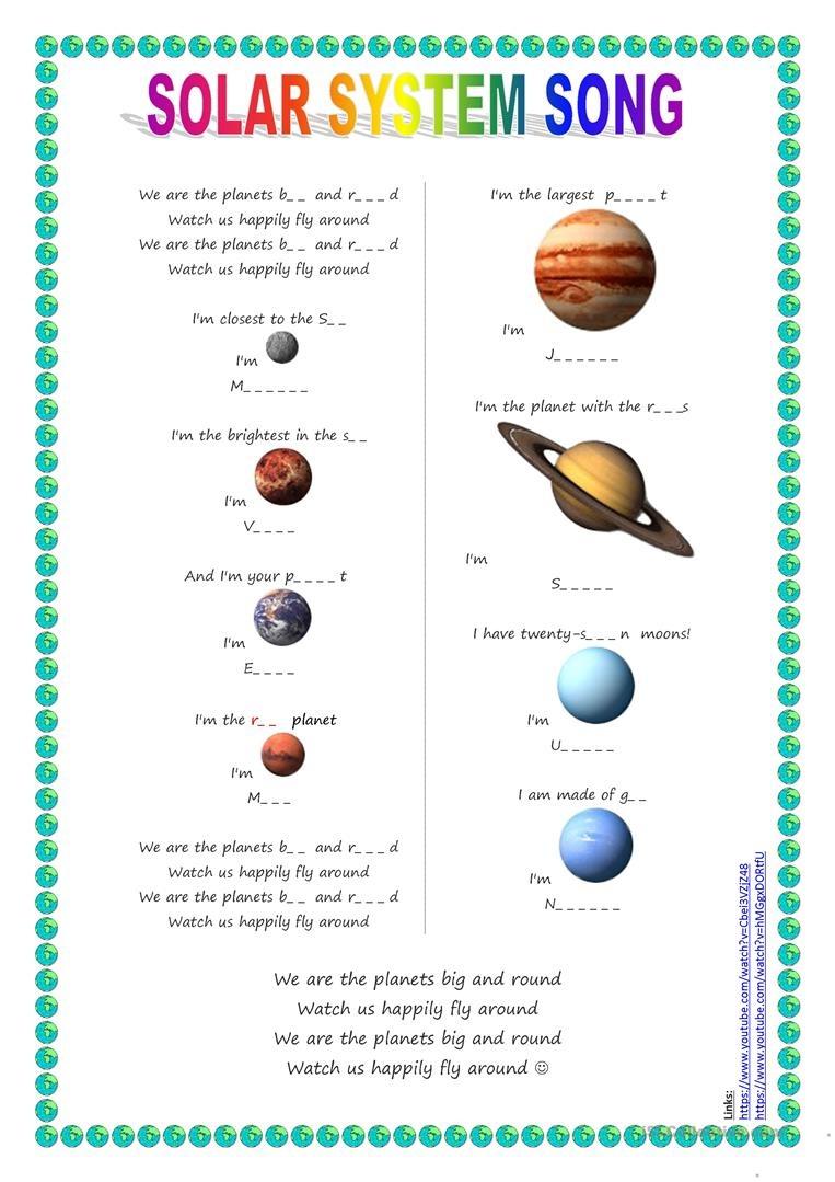Song For Kids: Planets / Solar System Song Worksheet - Free Esl - Free Printable Solar System Worksheets