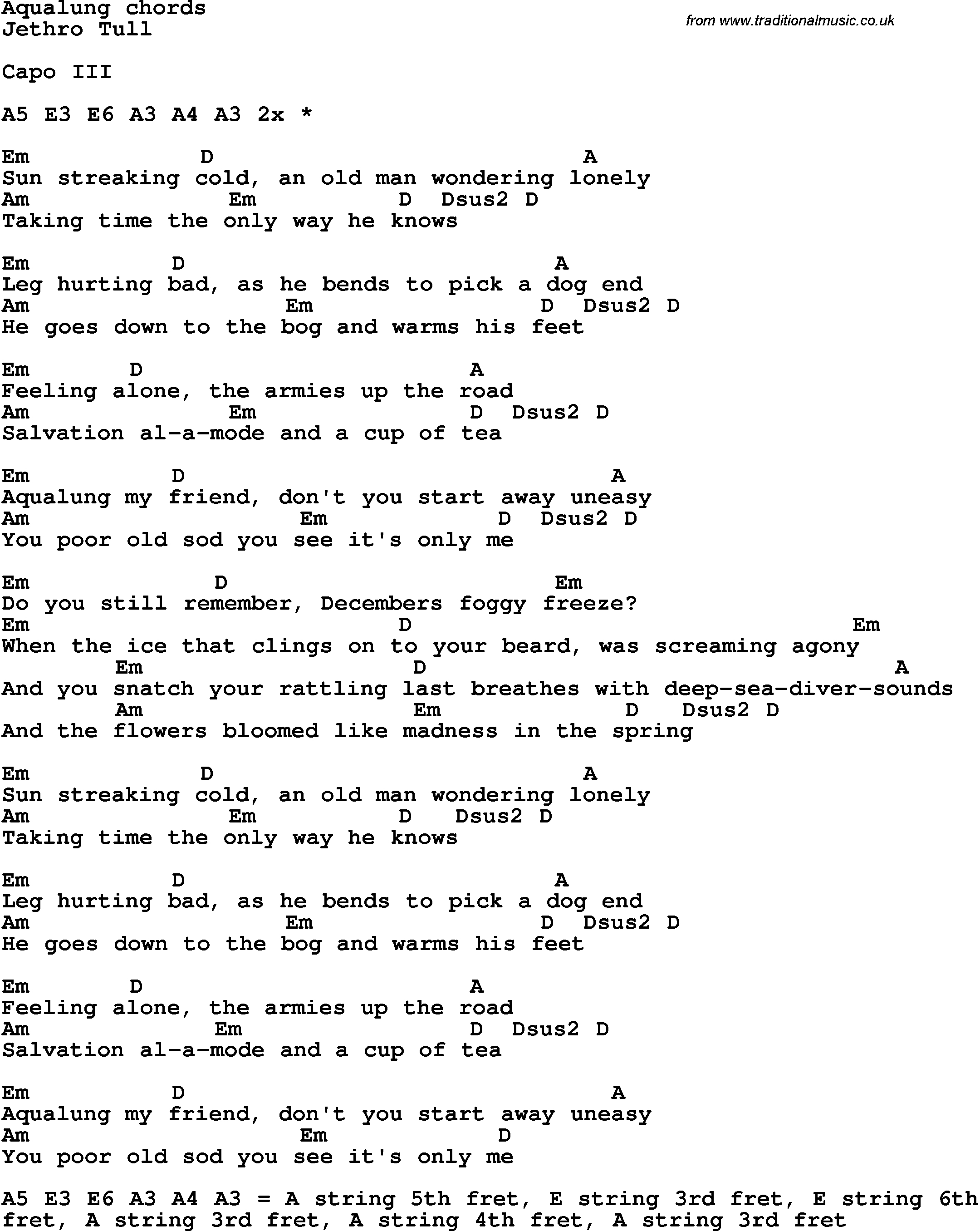 Song Lyrics With Guitar Chords For Aqualung - Jethro Tull | Guitar - Free Printable Song Lyrics With Guitar Chords