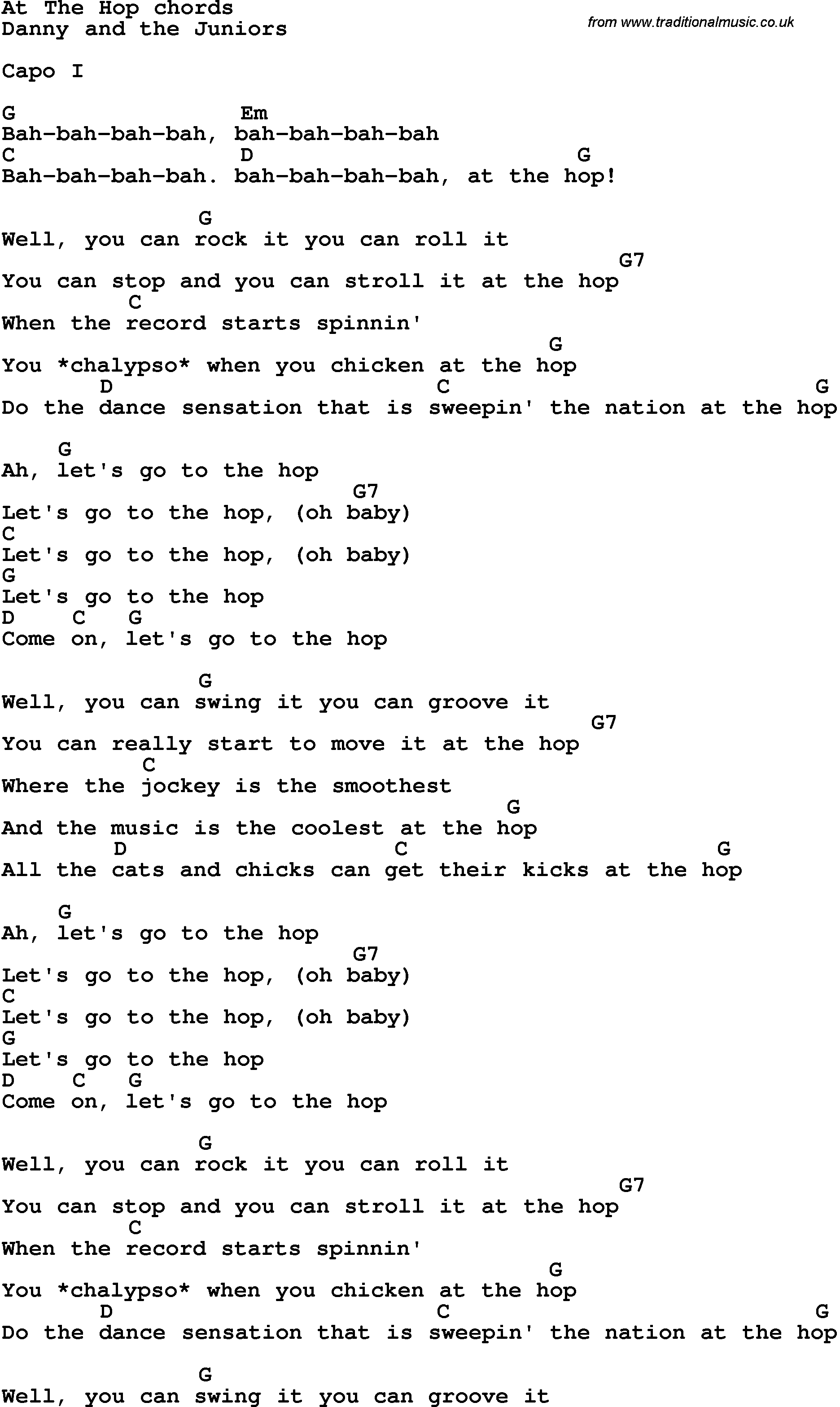 Song Lyrics With Guitar Chords For At The Hop | Music In 2019 - Free Printable Song Lyrics With Guitar Chords
