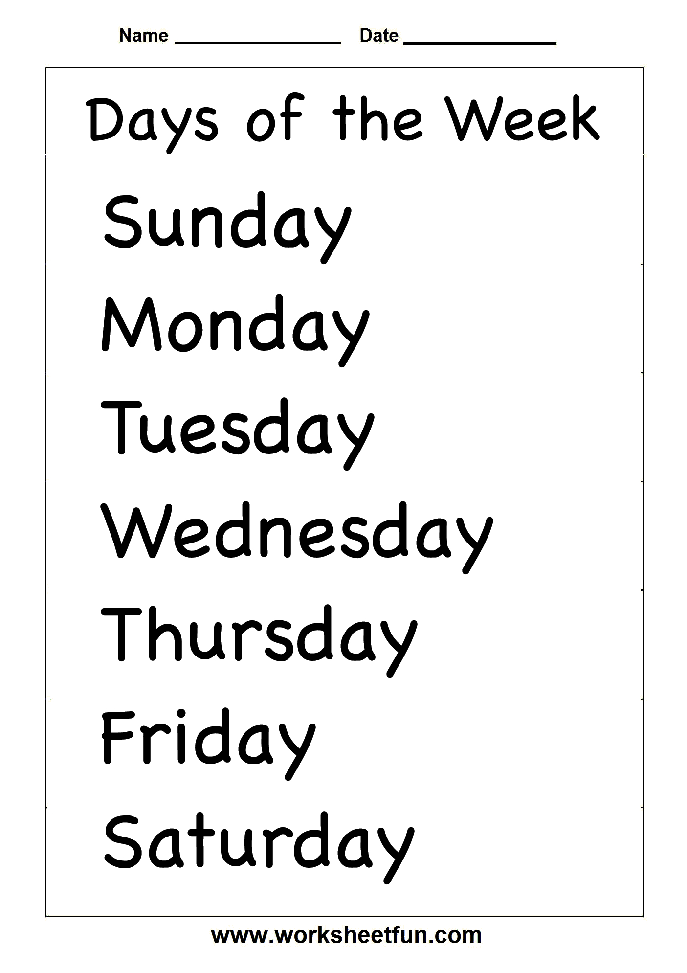 Spelling – Days Of The Week / Free Printable Worksheets – Worksheetfun - Free Printable Days Of The Week