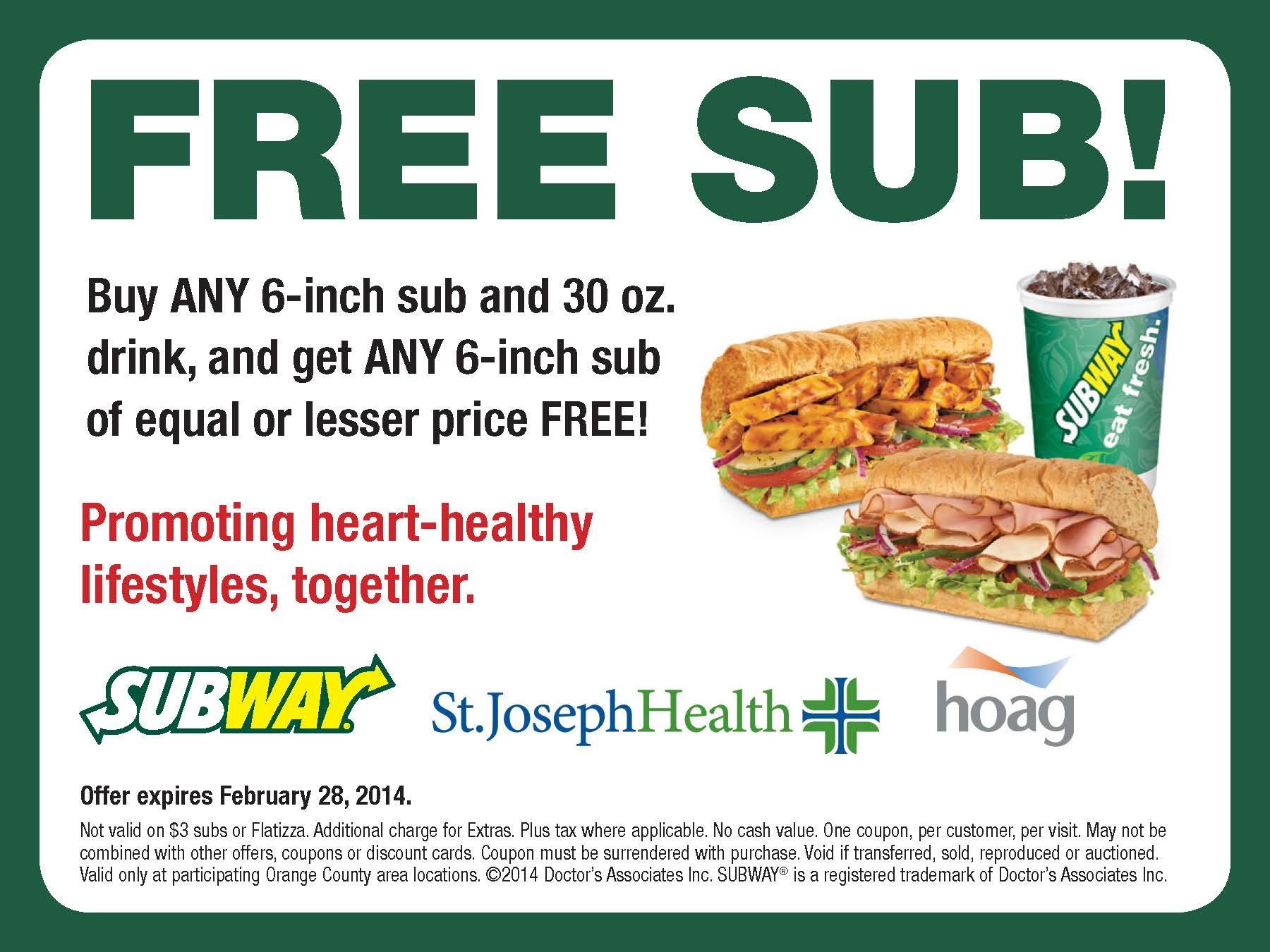 St. Joseph Hoag Subway Coupon – Printable Coupons Online - Free Printable Subway Coupons 2017