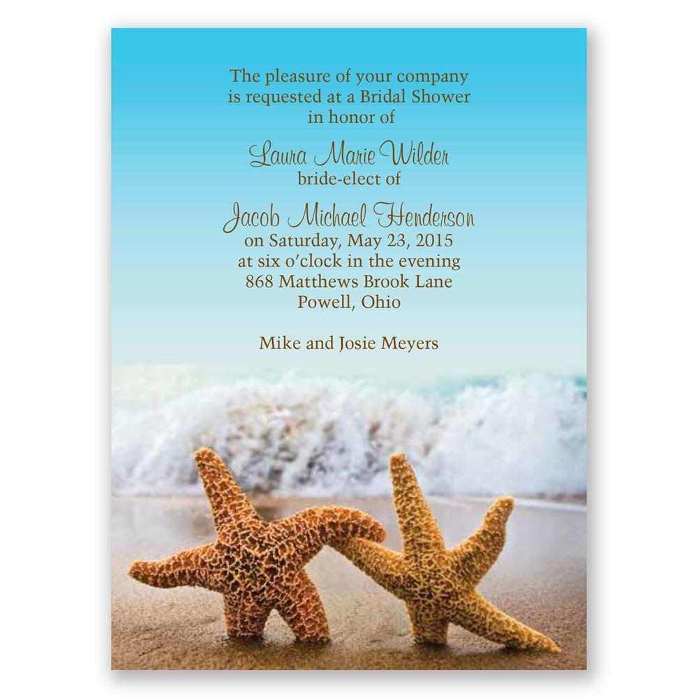 Starfish Petite Bridal Shower Invitation | Invitationsdawn - Free Printable Beach Theme Bridal Shower Invitations