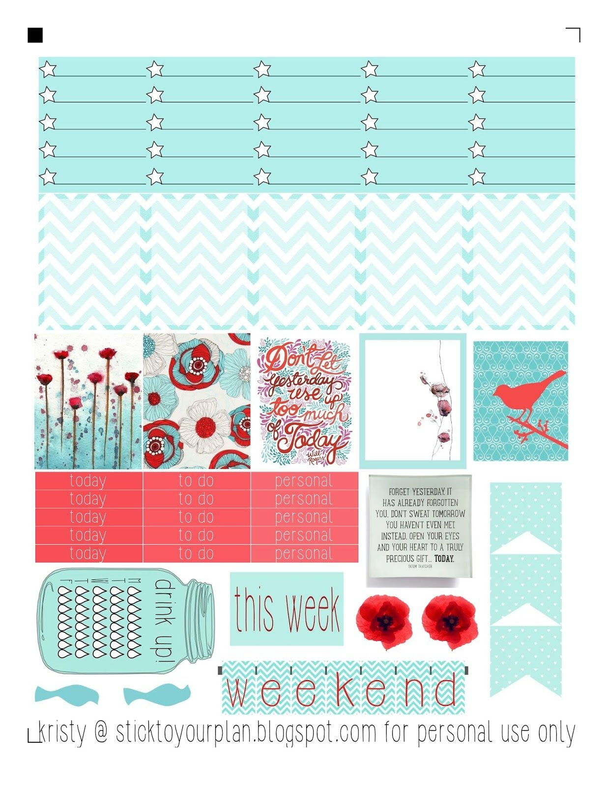 Stick To Your Plan, Free Printable For Personal Use Only - Fits Erin - Printable Erin Condren Stickers Free