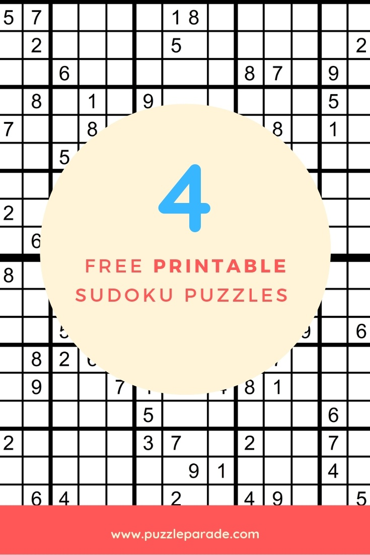 Sudoku Free Printable - 4 Intermediate Sudoku Puzzles - Puzzle Parade - Download Printable Sudoku Puzzles Free