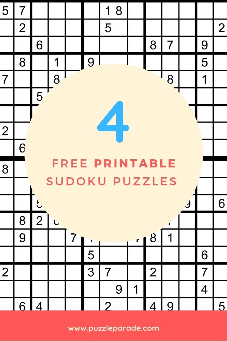 Sudoku Free Printable - 4 Intermediate Sudoku Puzzles - Puzzle Parade - Download Printable Sudoku Puzzles Free