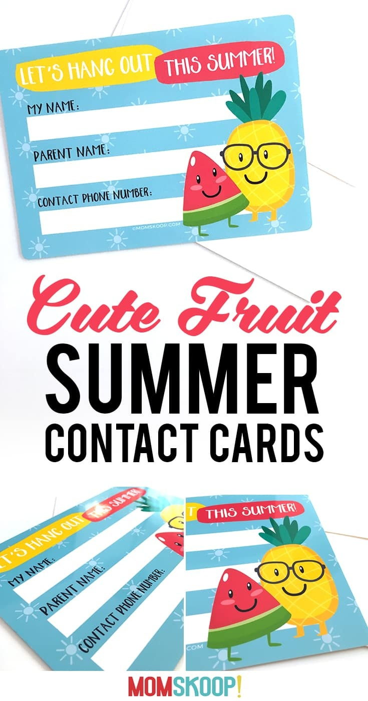 Summer Contact Cards - Free Printable To Help Kids Keep In Touch - Play Date Invitations Free Printable