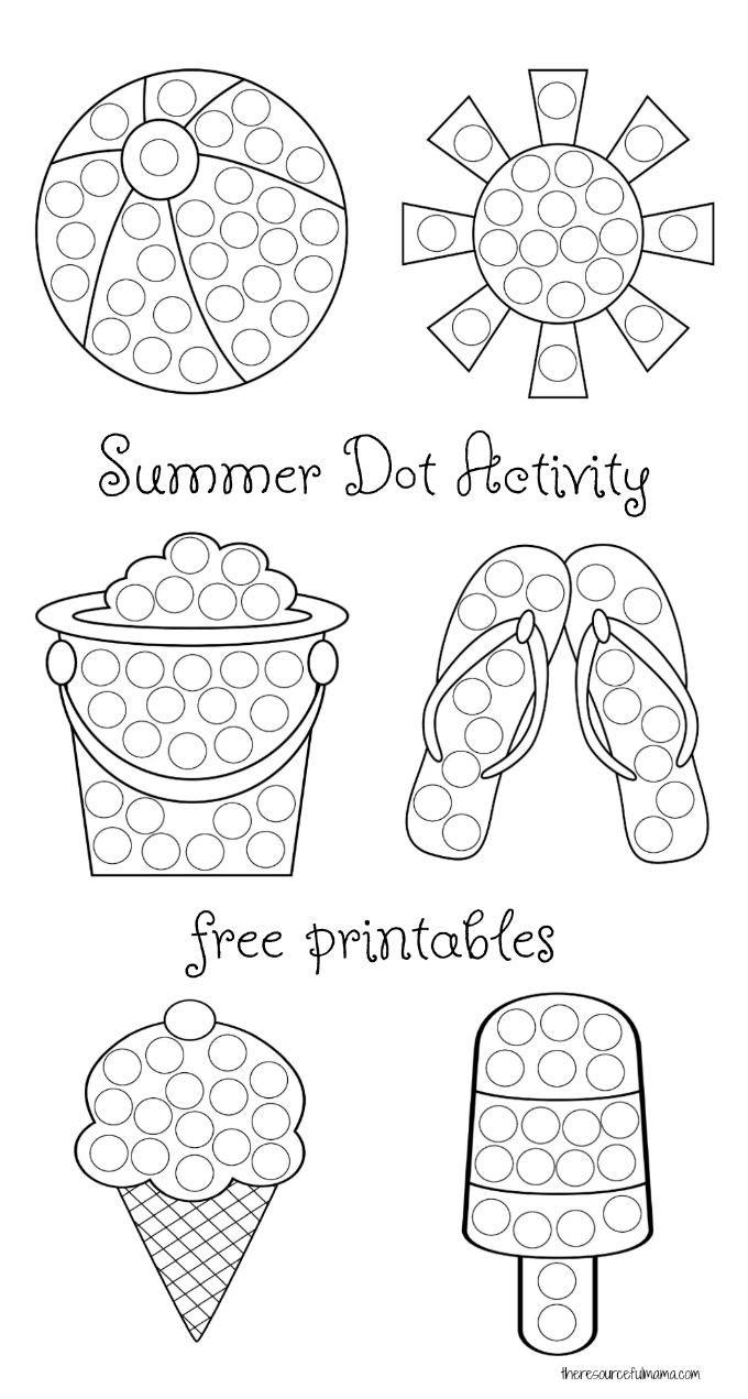 Summer Dot Activity {Free Printables} | The Resourceful Mama - Do A Dot Art Pages Free Printable