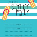 Summer Party Invitation – Free Printable | End Of Year Party Ideas   Free Printable Pool Party Invitation Cards