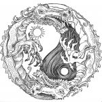 Sun And Moon Dragon Yin Yang Coloring Pages Colouring Adult Detailed   Free Printable Coloring Pages For Adults Advanced