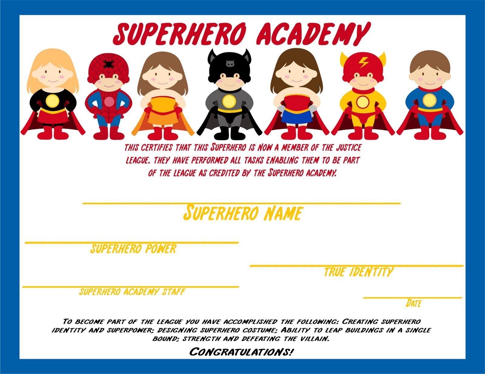 Superhero - Certificate Awarded After Kids Complete Activities - Free Printable Superhero Certificates