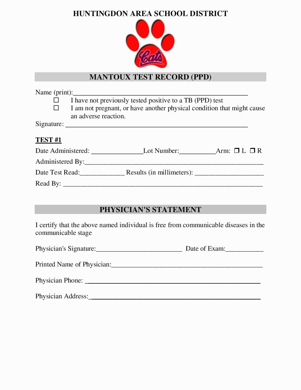 Tb Test Form For School 7 Tb Test Form For School Tips You - Free Printable Tb Test Form