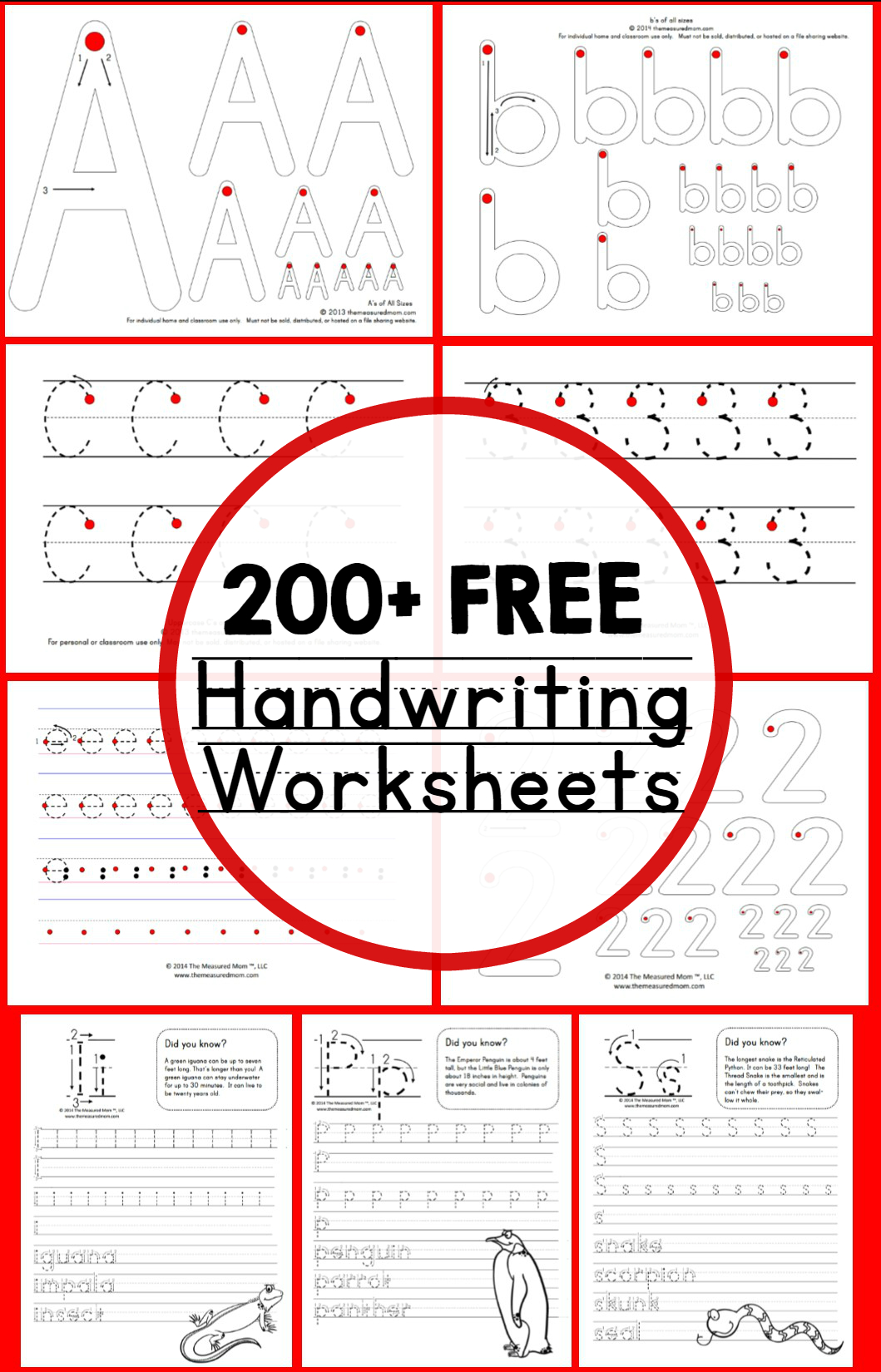 Teaching Handwriting - The Measured Mom - Free Printable Handwriting Sheets For Kindergarten