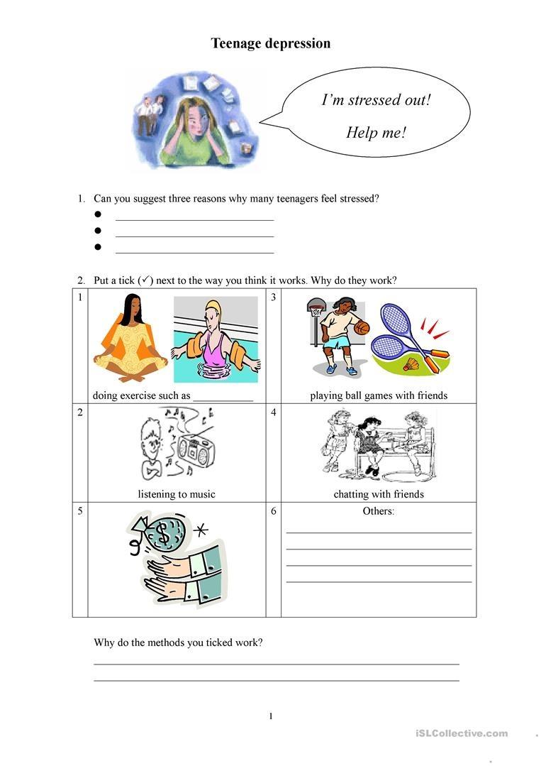 Teenage Depression Worksheet - Free Esl Printable Worksheets Made - Free Printable Worksheets On Depression