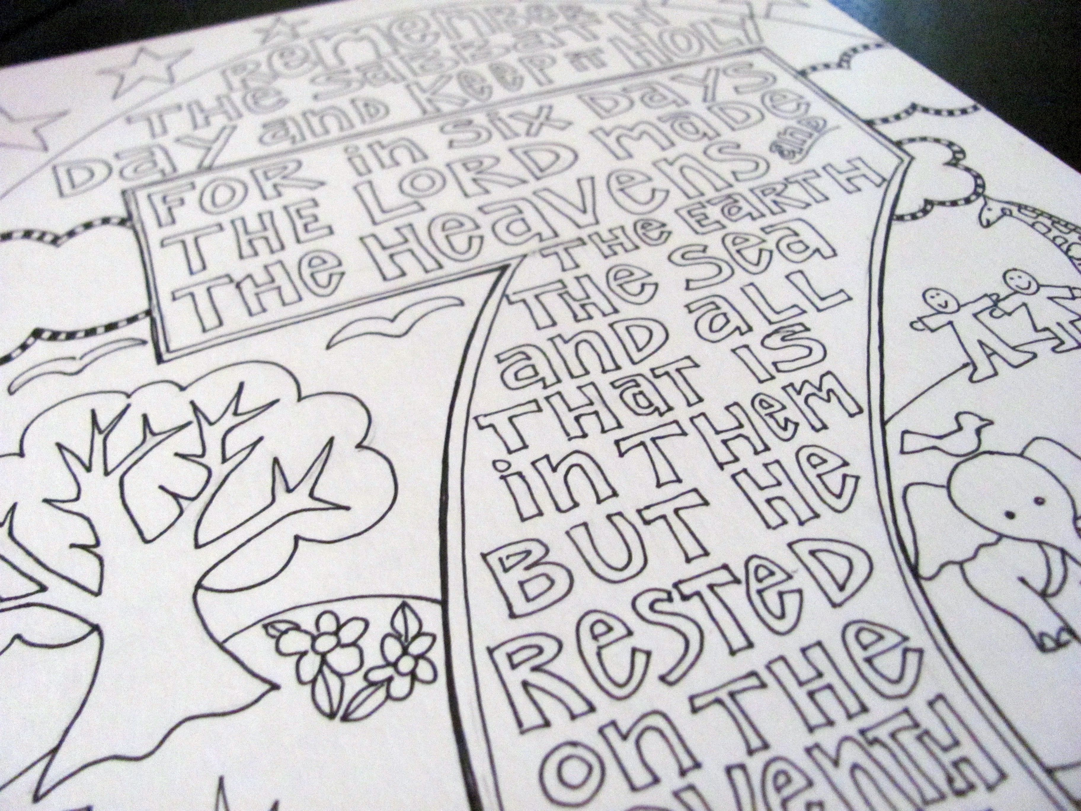 Ten Commandments Free Printable Coloring Pages - Keep The Sabbath - Free Printable Ten Commandments Coloring Pages