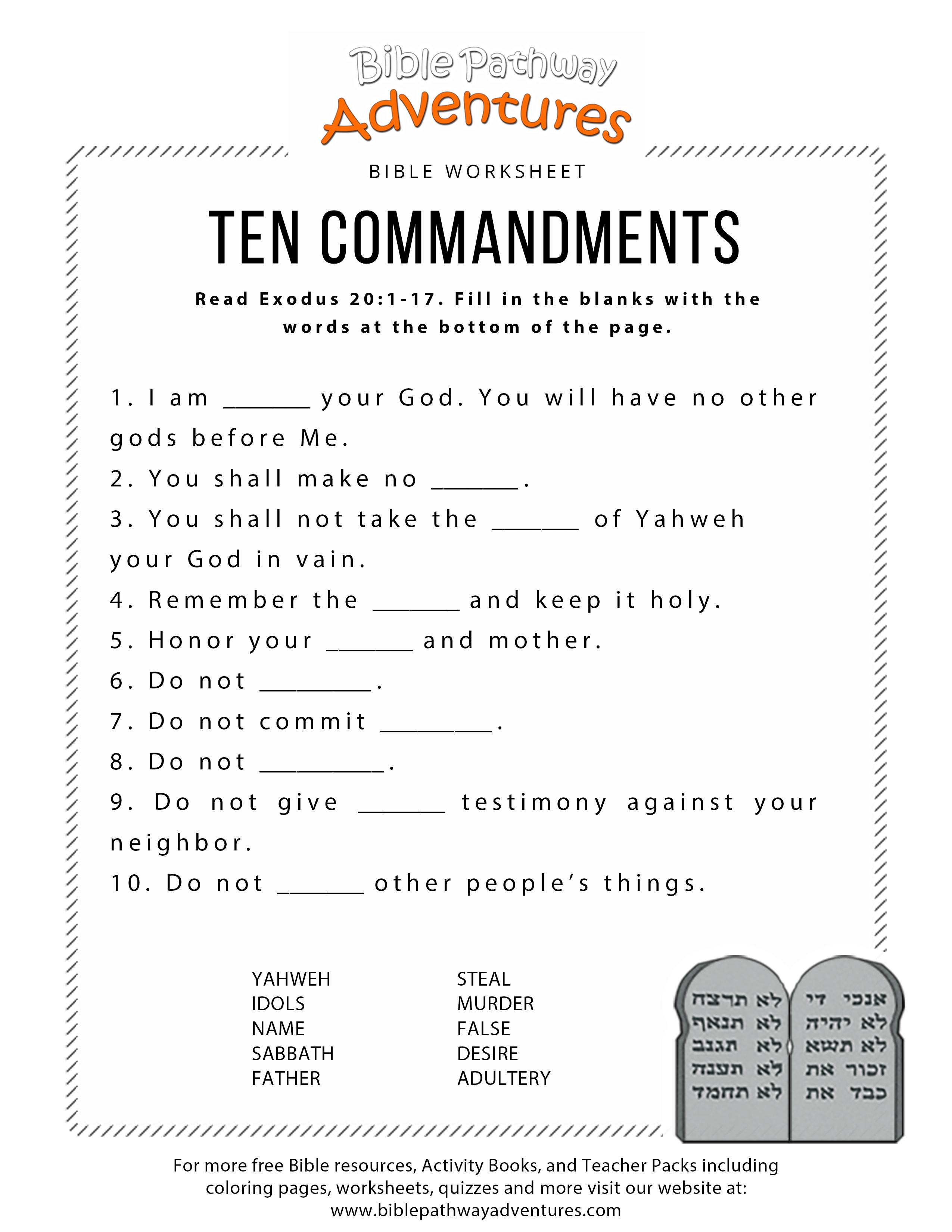 Ten Commandments Worksheet For Kids | Worksheets For Psr | Bible - Free Printable Ten Commandments Coloring Pages
