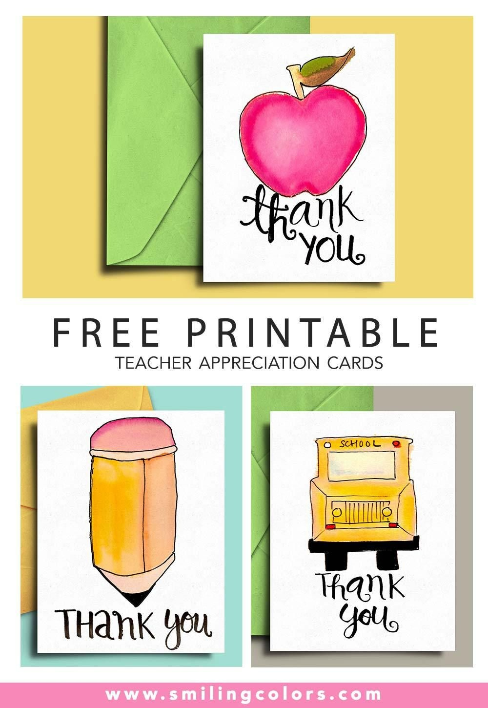 Thank You Card For Teacher And School Bus Driver With Free - Free Printable Teacher Appreciation Cards To Color