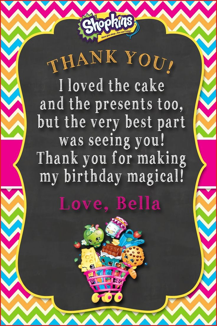 Thank You Cards For Birthday Shopkins Thank You Card Shopkins - Free Printable Shopkins Thank You Cards
